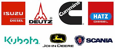 Isuzu Diesel, Kubota, Deutz, John Deere, Scania, Hatz Diesel