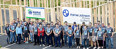 Team members working for Habitat for Humanity