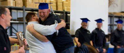 Big hug for the graduate!